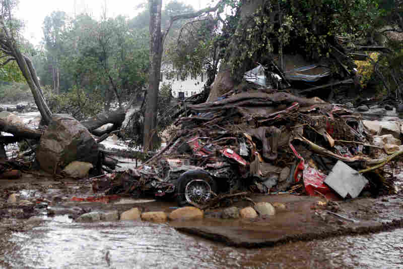 A car and debris smashed against a tree along Hot Springs Road in Montecito, Calif. At least 17 people are dead as a result of the mudslides.