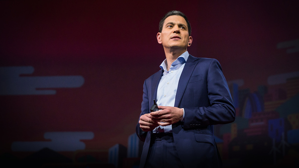 David Miliband on the TED stage.