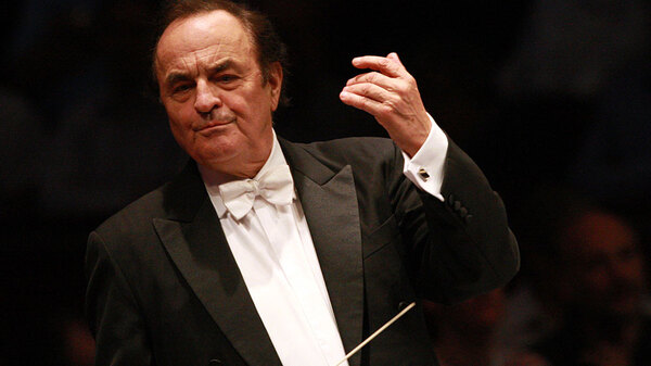 Charles Dutoit, leading the Royal Philharmonic Orchestra in 2012. Following sexual assault allegations, the conductor has stepped down immediately as the orchestra