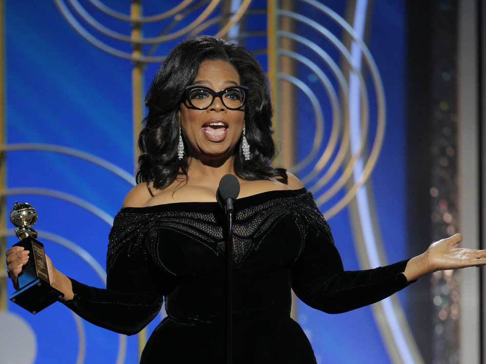 Oprah Winfrey accepts the 2018 Cecil B. DeMille Award during the 75th Annual Golden Globe Awards at The Beverly Hilton Hotel on Sunday. Winfrey's speech spurred talk of a possible presidential run. (NBCUniversal via Getty Images)