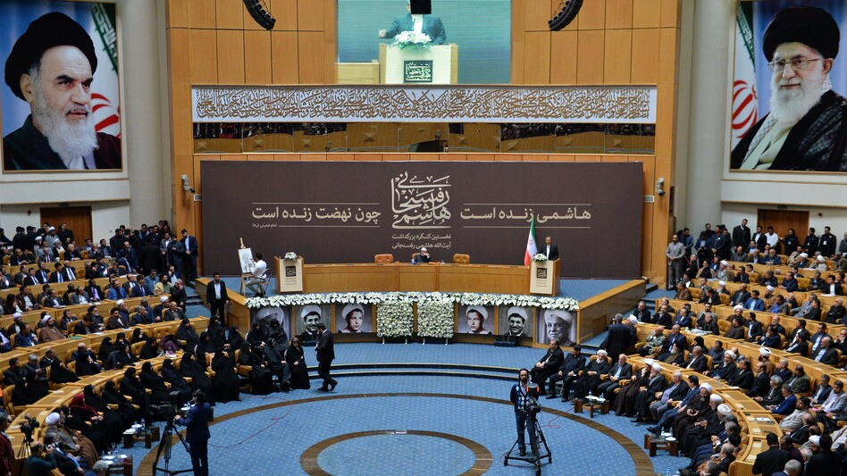 Iranian Vice President Ishak Cihangiri delivers a speech during the commemoration ceremony of former Iranian President Ayatollah Hashemi Rafsanjani in Tehran on Jan. 8.