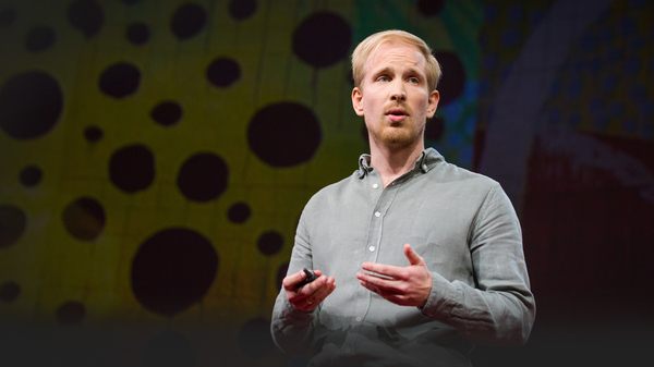 Rutger Bregman on the TED stage.