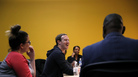 Facebook CEO Mark Zuckerberg laughs as he meets with a group of entrepreneurs and innovators during a roundtable discussion at Cortex Innovation Community technology hub, in November, in St. Louis.