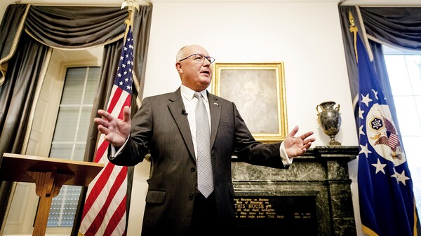 """U.S. Ambassador to the Netherlands Pete Hoekstra spoke at a tense news conference with Dutch reporters Wednesday at The Hague. On Friday, he said earlier anti-Muslim comments were """"wrong."""""""