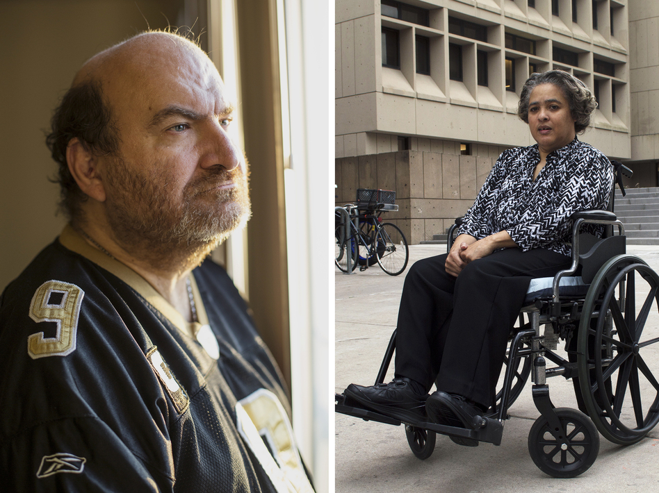 James Meadours (left), Debbie Robinson and Thomas Mangrum share their stories about sexual assault. (Lizzie Chen for NPR; Claire Harbage and Meg Anderson/NPR)
