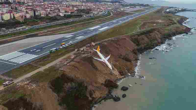 Plane Skids Off Runway In Turkey Onto Cliff Edge, No Injuries Reported