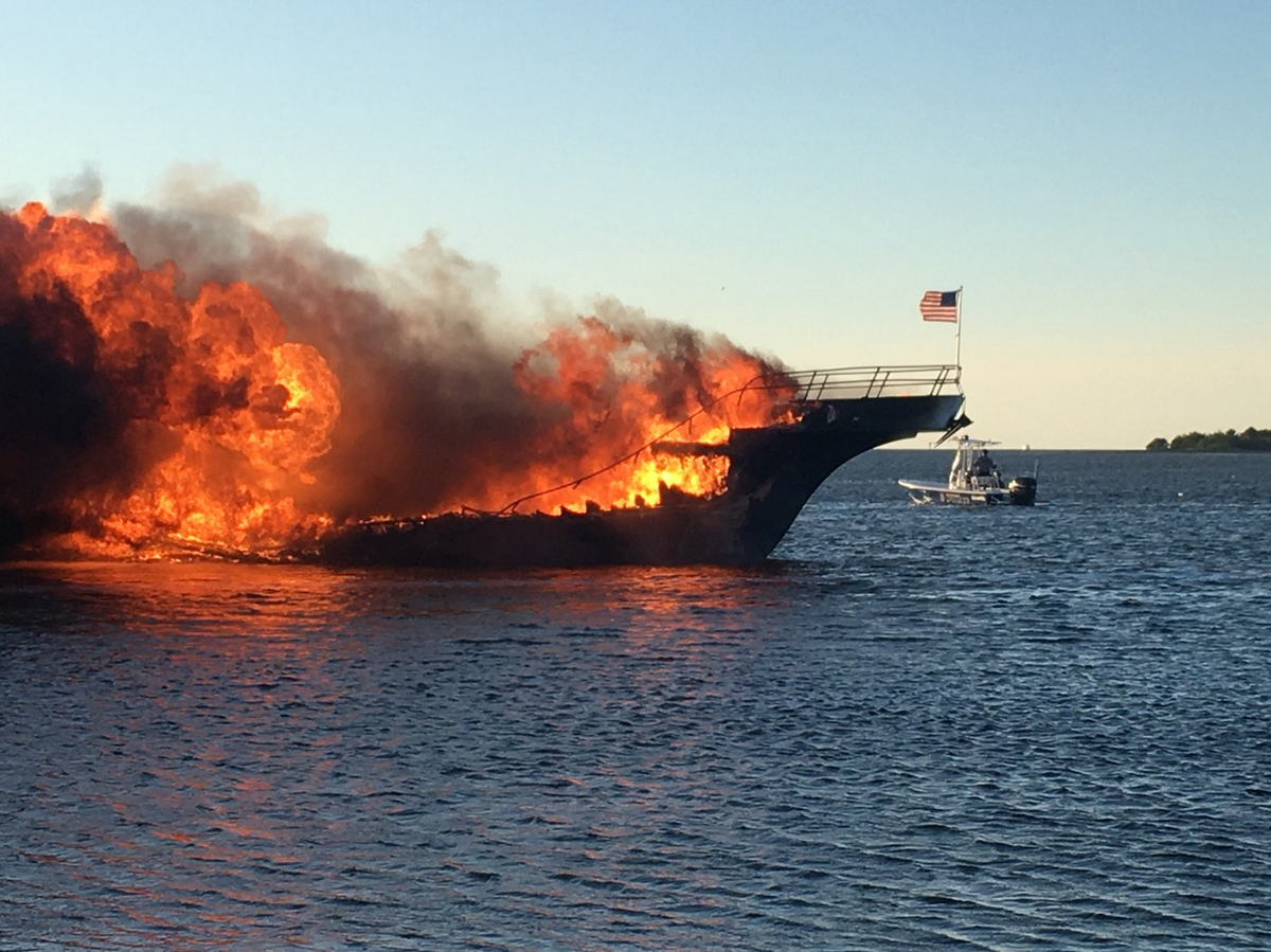 Woman Dies After Florida Boat Fire Sends Dozens Of Panicked Marine Wiring Books Flames Engulf A Sunday In The Tampa Bay Area Officials Said One Person Died Ferrying Patrons To Casino Ship Caught Near Shore