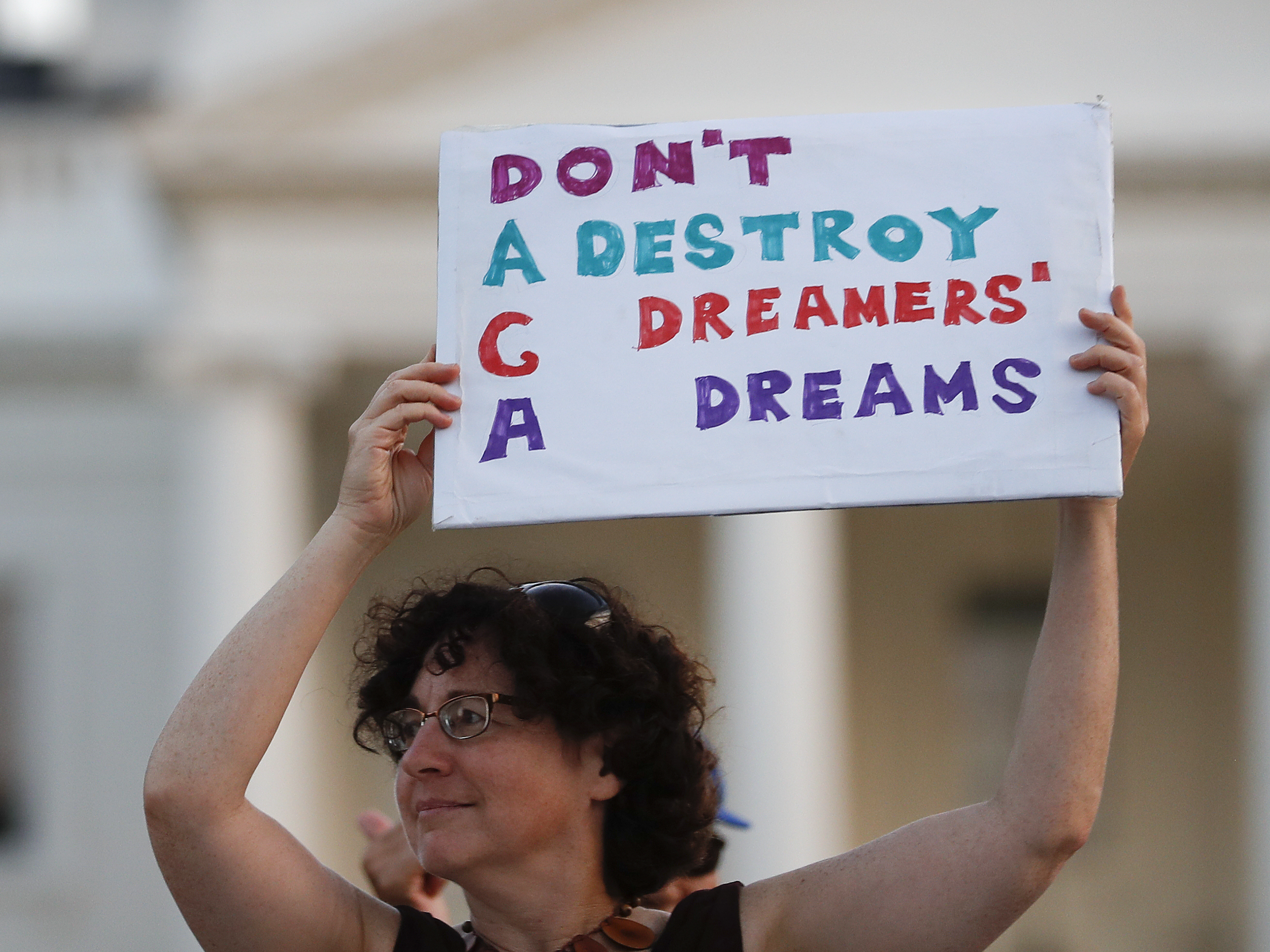 Protestors supporting Deferred Action for Childhood Arrivals outside the White House.   Carolyn Kaster       AP
