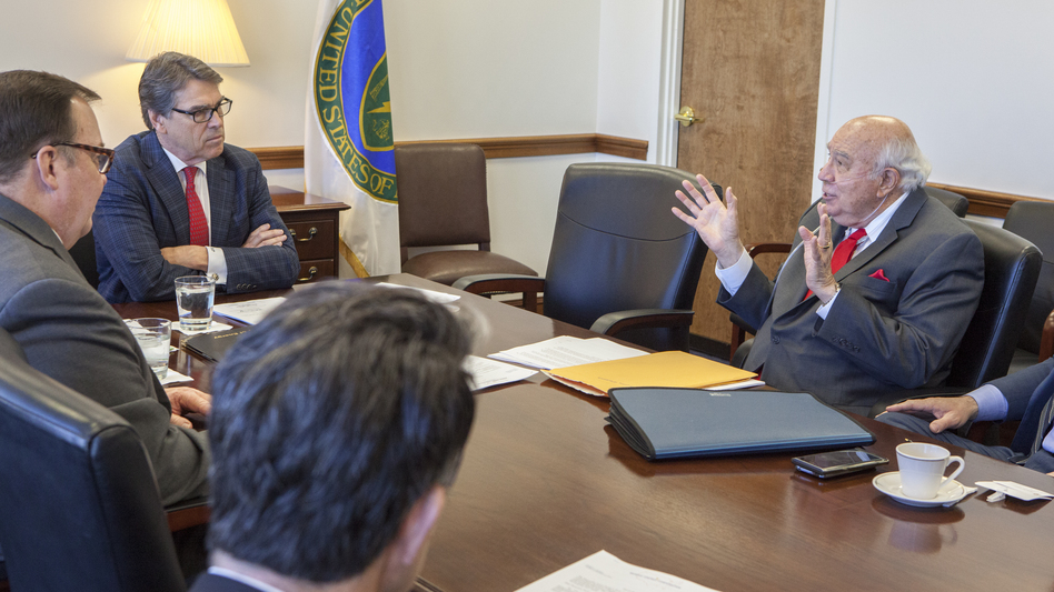 Robert Murray of Murray Energy (right) meets with Energy Secretary Rick Perry at the Department of Energy headquarters in Washington in a March 29, 2017, photo obtained by The Associated Press. (Simon Edelman/AP)