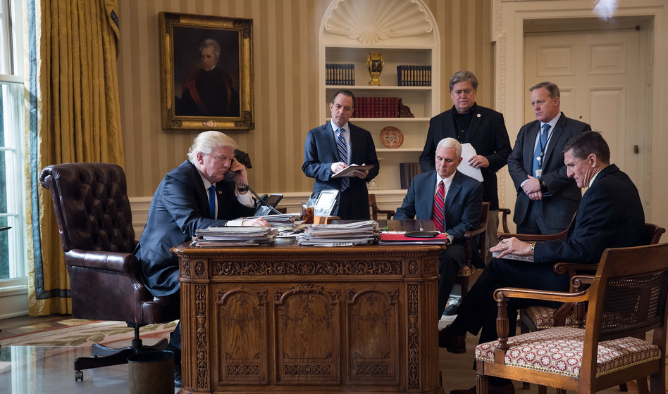 Of the people in this Oval Office photo from Jan. 28, 2017, only President Trump and Vice President Pence are still part of the administration. Reince Priebus, Steve Bannon, Sean Spicer and Michael Flynn have all left. (Drew Angerer/Getty Images)