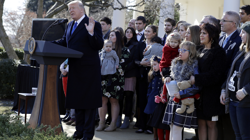 President Trump speaks to the March for Life participants via satellite from the Rose Garden of the White House on Friday. (Evan Vucci/AP)