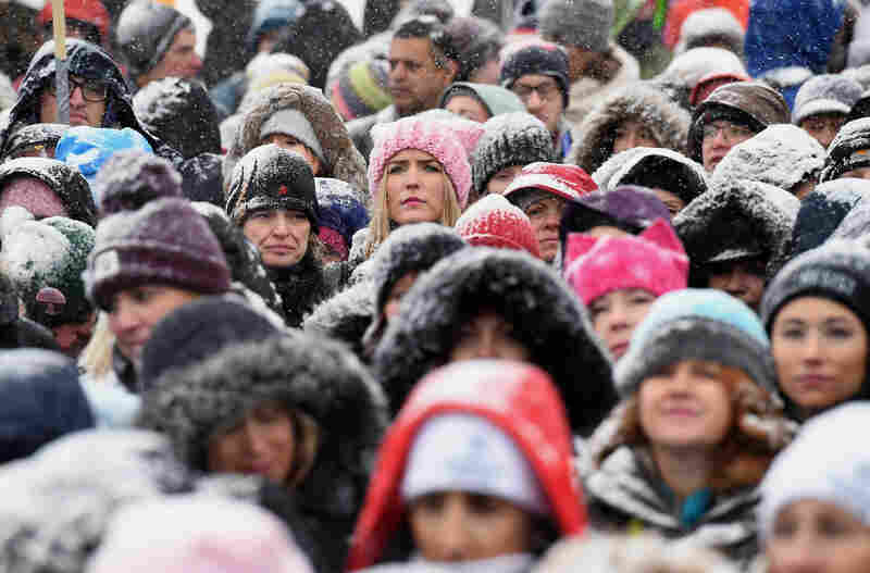Participants attend Respect Rally Park City to celebrate community victories, honoring the one-year anniversary of the Women's March and Park City's March on Main in Park City, Utah.