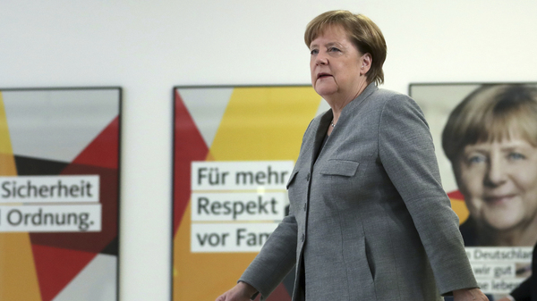 German Chancellor and chairwomen of the German Christian Democratic Union (CDU), Angela Merkel, arrives for a statement at the party