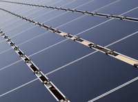 Solar panels that make up the Public Service Company of New Mexico's new 2-megawatt photovoltaic array in Albuquerque.