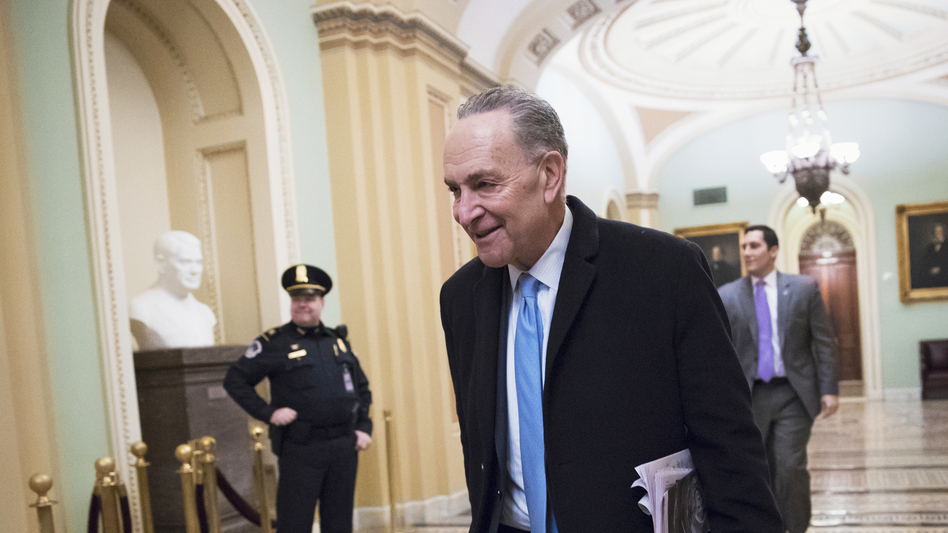 Senate Minority Leader Chuck Schumer (D-N.Y.) arrives at the Capitol at the start of the third day of the government shutdown on Monday.