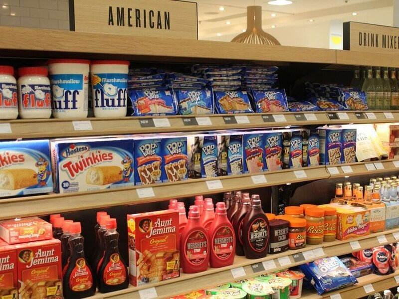 """american food aisle"" at a british grocery store"