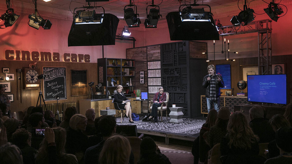 At the Sundance Film Festival in Park City, Utah, NPR's Nina Totenberg talks to Justice Ruth Bader Ginsburg. On stage with them is Robert Redford, founder of the festival. (John Nowak / CNN Films)