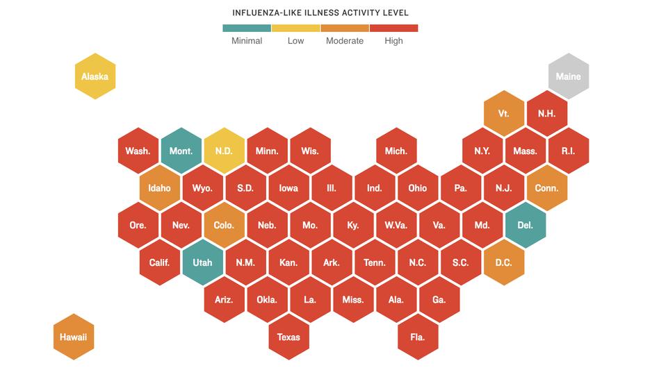 At Least 37 Kids Dead From Severe Flu Season In US Minnesota - Flu In The Us Map