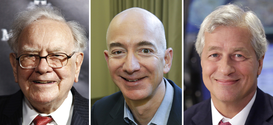 "Berkshire Hathaway Chairman and CEO Warren Buffett (left) in 2017; Jeff Bezos, CEO of Amazon, in 2013; and JP Morgan Chase Chairman and CEO Jamie Dimon in 2013. Berkshire Hathaway, Amazon and JPMorgan Chase are teaming up to create a health care company announced Tuesday that is ""free from profit-making incentives and constraints."" (AP)"