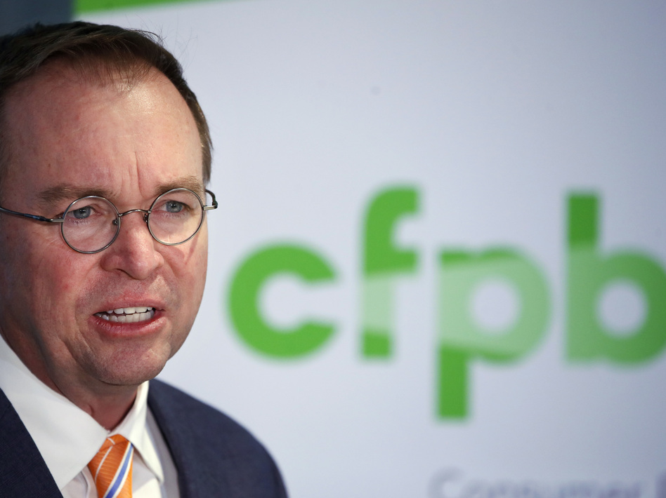 Mick Mulvaney, acting director of the Consumer Financial Protection Bureau in November 2017. (Jacquelyn Martin/AP)