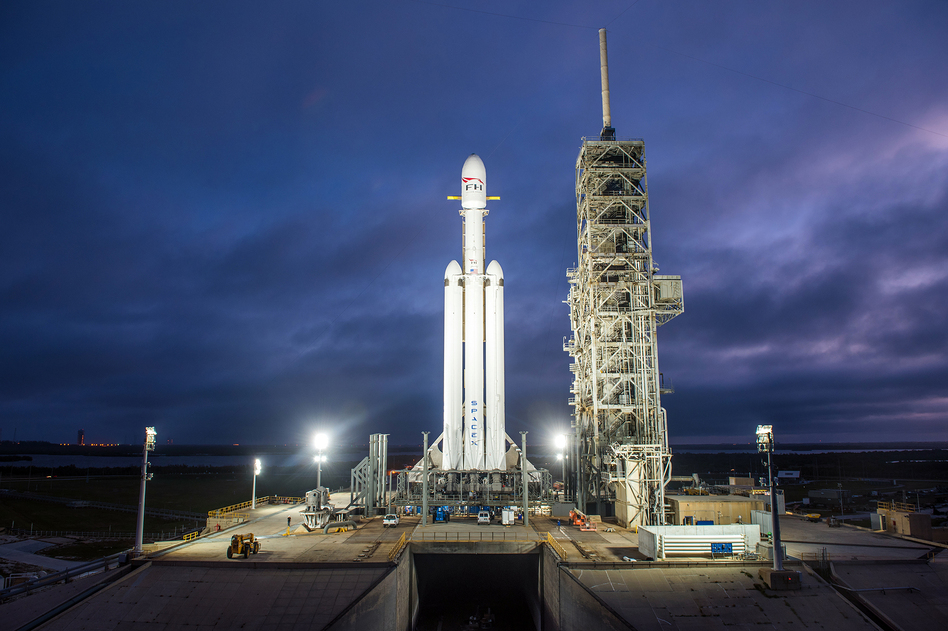 The Falcon Heavy is the latest advance from the rocket company SpaceX, and it's a step toward the company's goal of sending people to Mars. (SpaceX)