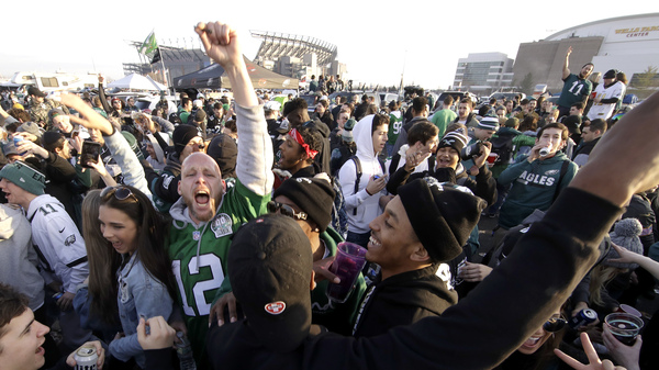 Fans tailgate before the NFL football NFC championship game between the Philadelphia Eagles and the Minnesota Vikings Sunday, Jan. 21 in Philadelphia.