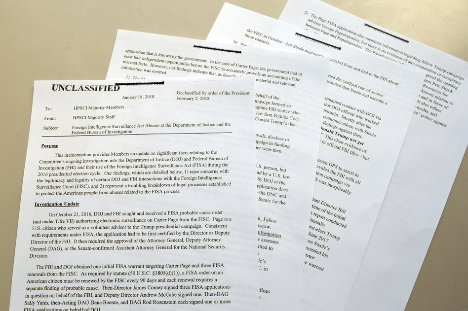 The Nunes intelligence memo is photographed in Washington, D.C., on Friday after its declassification and release. (Susan Walsh/AP)