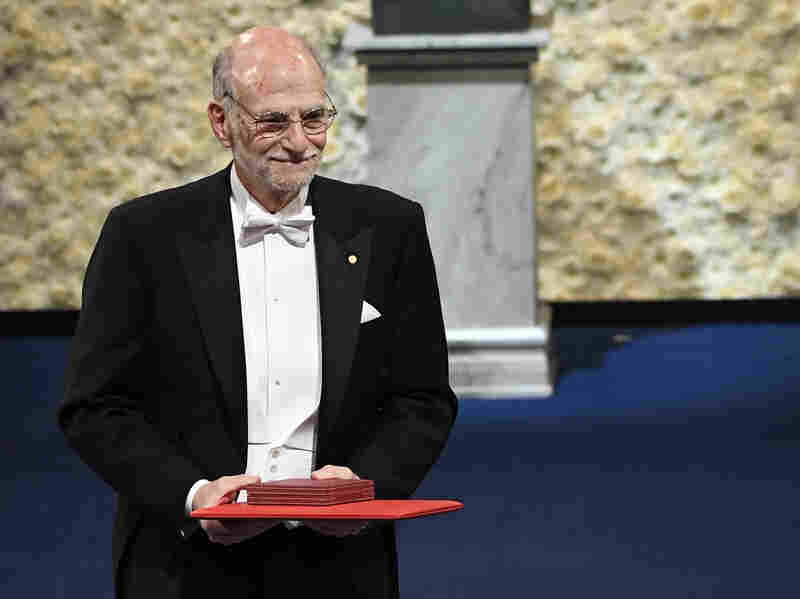 Nobel laureate Michael Rosbash receives his award in 2017.