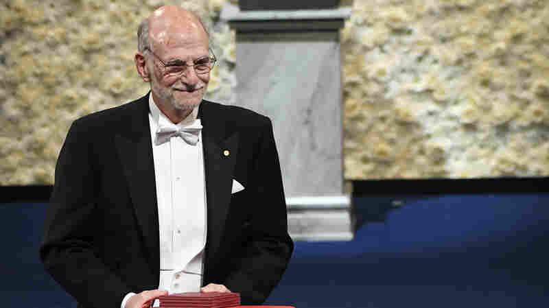 Nobel laureate Michael Rosbash receives his award in 2017.