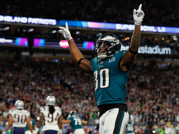 Eagles running back Corey Clement celebrates a touchdown in the first half of Super Bowl LII.
