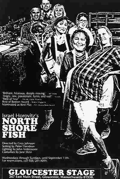 Poster for Israel Horovitz's production of North Shore Fish, whose cast included actor Laura Crook. Crook was one of the women who anonymously accused Horovitz of sexual misconduct in 1993.
