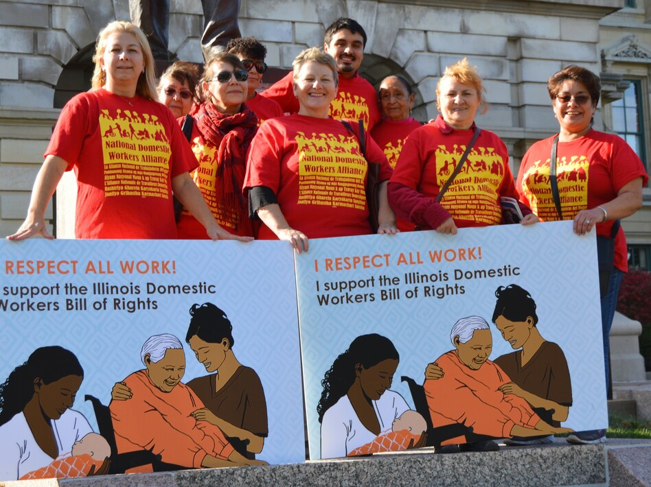 Isabel Escobar (far right) was among a group of Arise Chicago members — Latina and Polish home cleaners, nannies and home care workers — advocating for the Illinois Domestic Workers Bill of Rights during an October 2015 trip to the state capital in Springfield. (Arise Chicago)