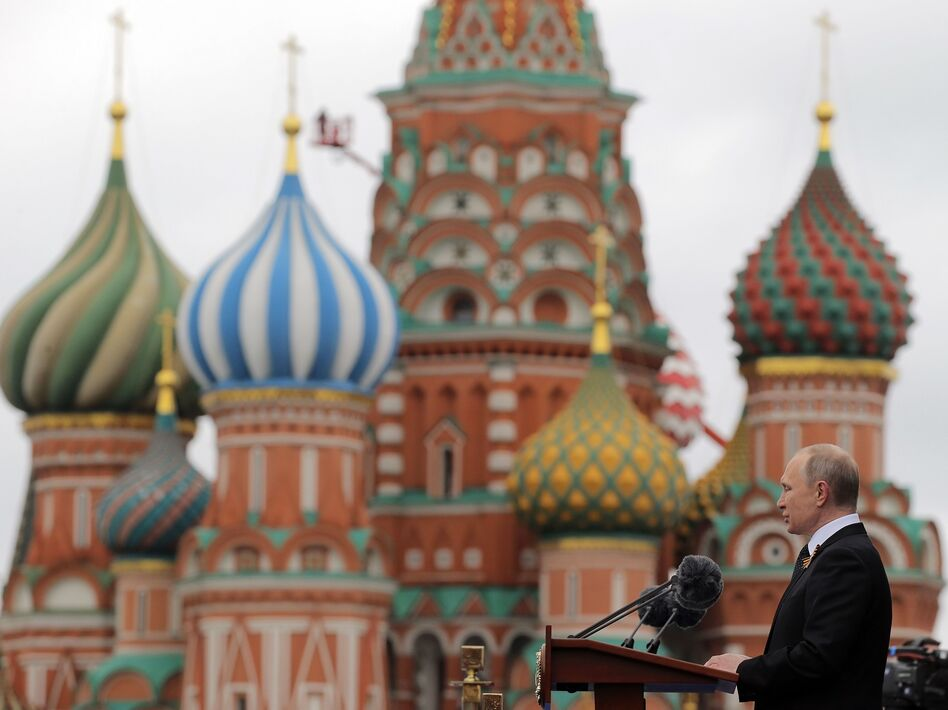 Russian President Vladimir Putin delivers a speech in Moscow's Red Square last May. Russian-backed efforts attempting to interfere in U.S. politics appear to be evolving. (Yuri Kochetkov/AFP/Getty Images)