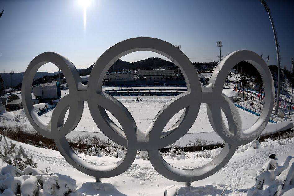 The Olympic rings are pictured on Feb. 8 at the biathlon shooting range ahead of the Pyeongchang Winter Olympics in South Korea.