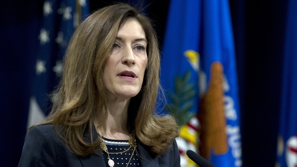Associate Attorney General Rachel Brand speaks during the opening of the summit on Efforts to Combat Human Trafficking on Feb. 2 at the Justice Department. (Jose Luis Magana/AP)