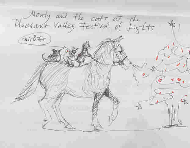 Monty the horse and the cats at the Pleasant Valley Festival of Lights.