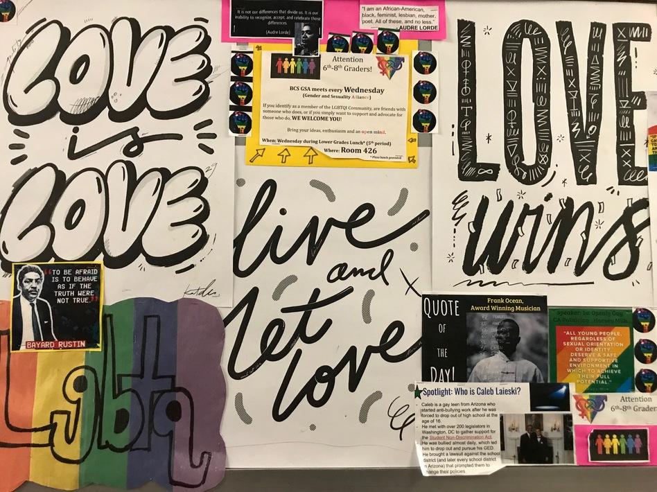A bulletin board at Brooklyn Collaborative School in New York City.