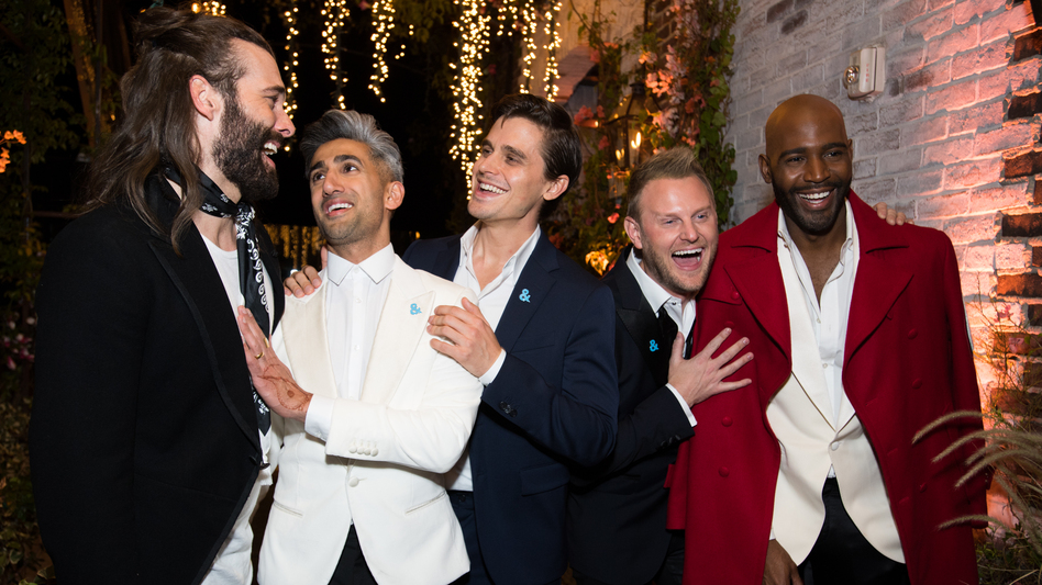 Jonathan Van Ness, Tan France, Antoni Porowski, Bobby Berk and Karamo Brown attend the after party for the premiere of Netflix's <em>Queer Eye</em> Season 1 at the Pacific Design Center in Los Angeles on Wednesday. (Emma McIntyre/Getty Images)
