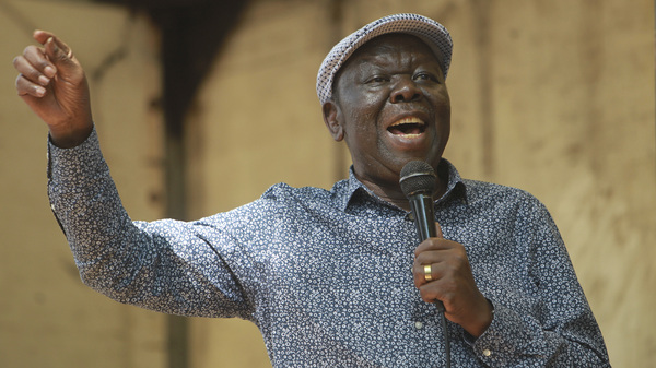 Morgan Tsvangirai, the main opposition leader in Zimbabwe, addresses protesters outside Parliament in Harare in November 2017.