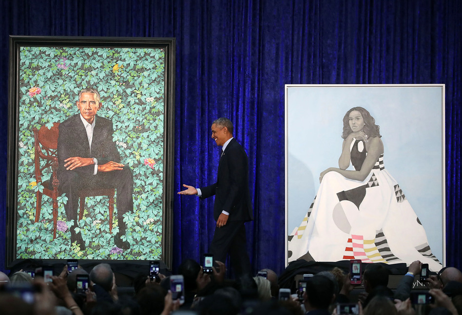 Obama Stands Between The Portraits His Will Be Permanently Installed In Americas Presidents