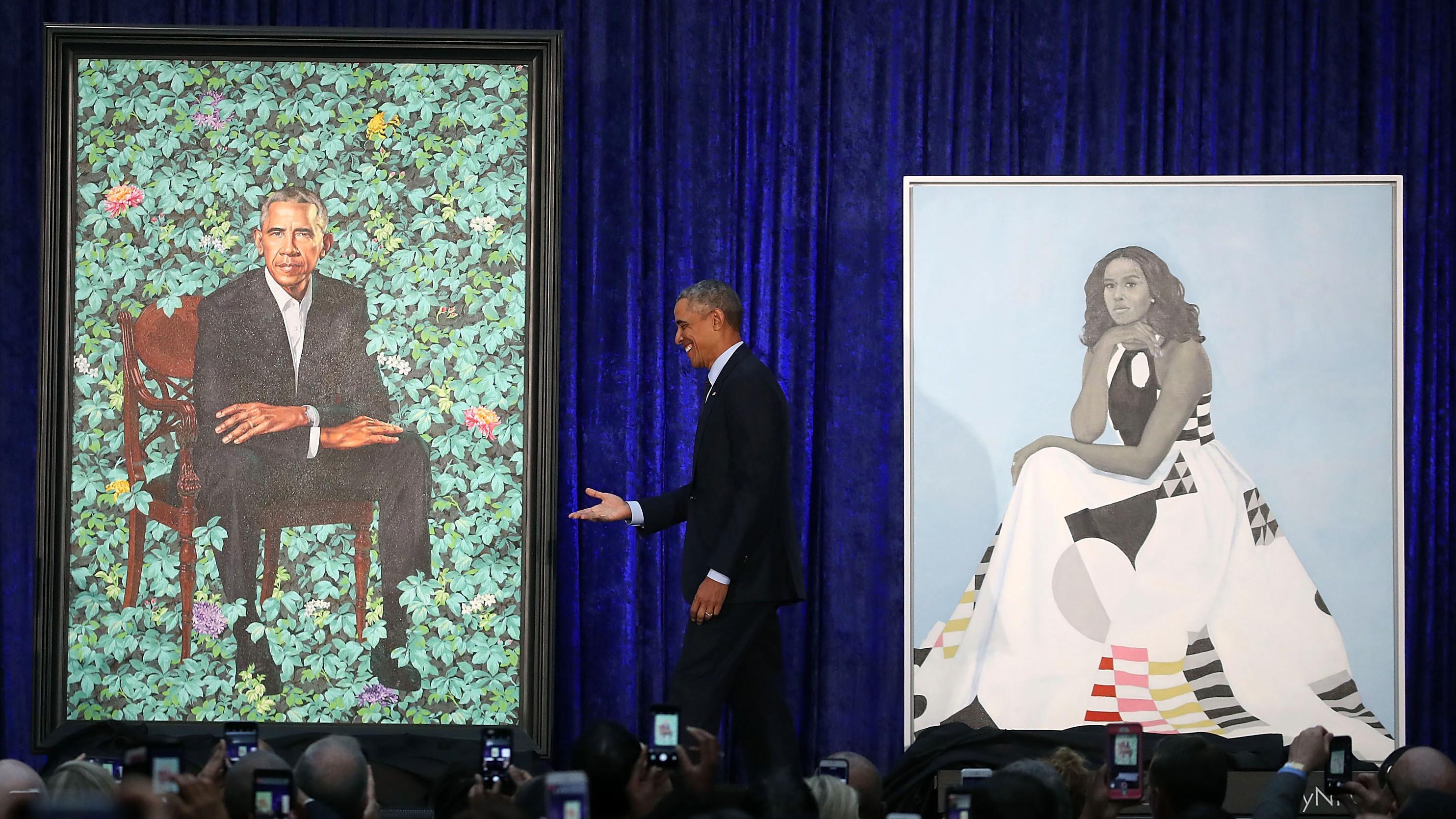 Presidential portraits unveiled from washington to obama