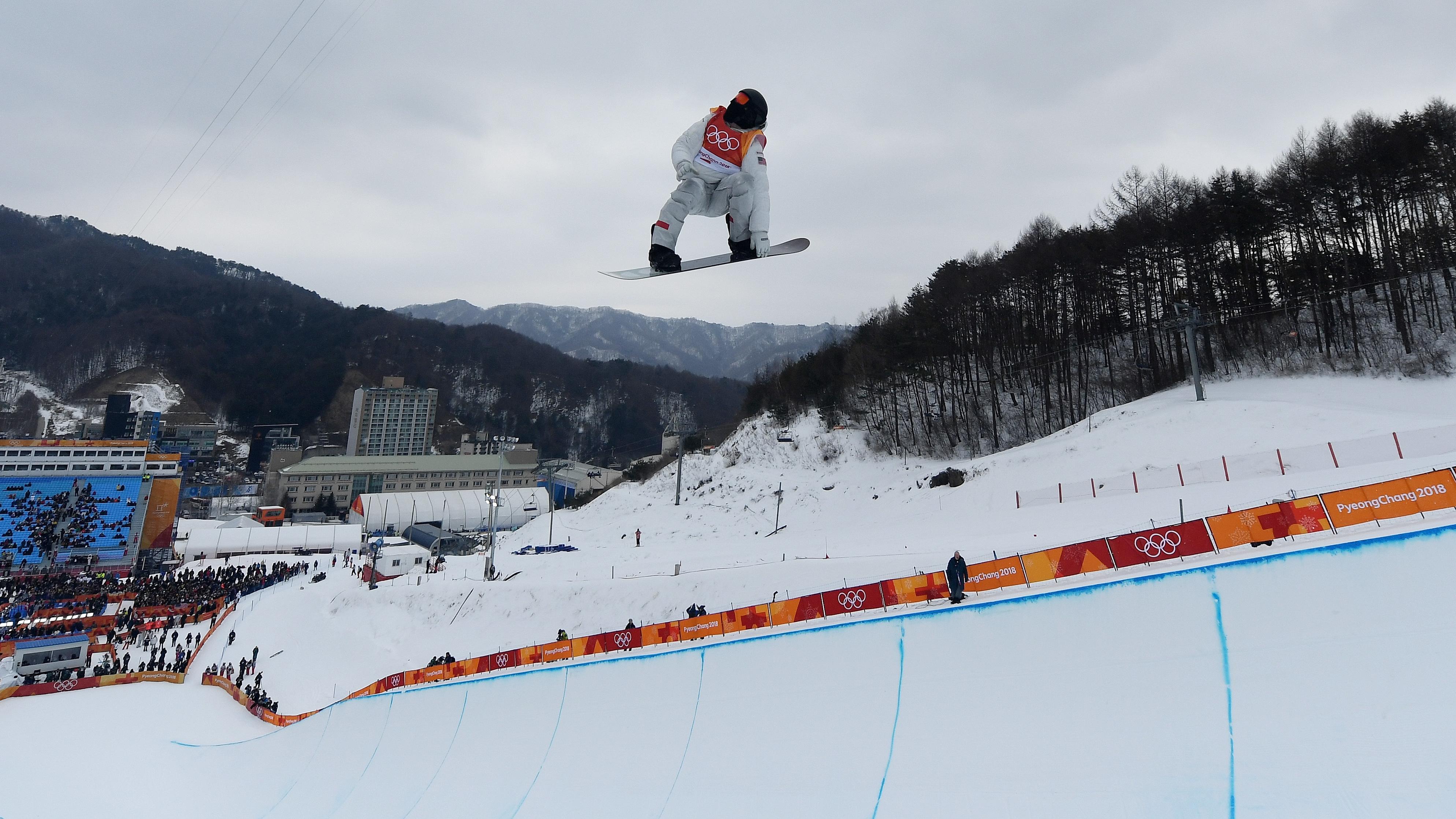 Shaun white snowboarding halfpipe