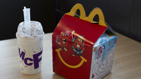 A Happy Meal and McFlurry are arranged for a photograph at a McDonald