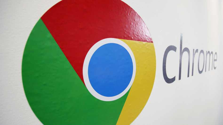 The Chrome logo is displayed at a Google event in New York in 2013.