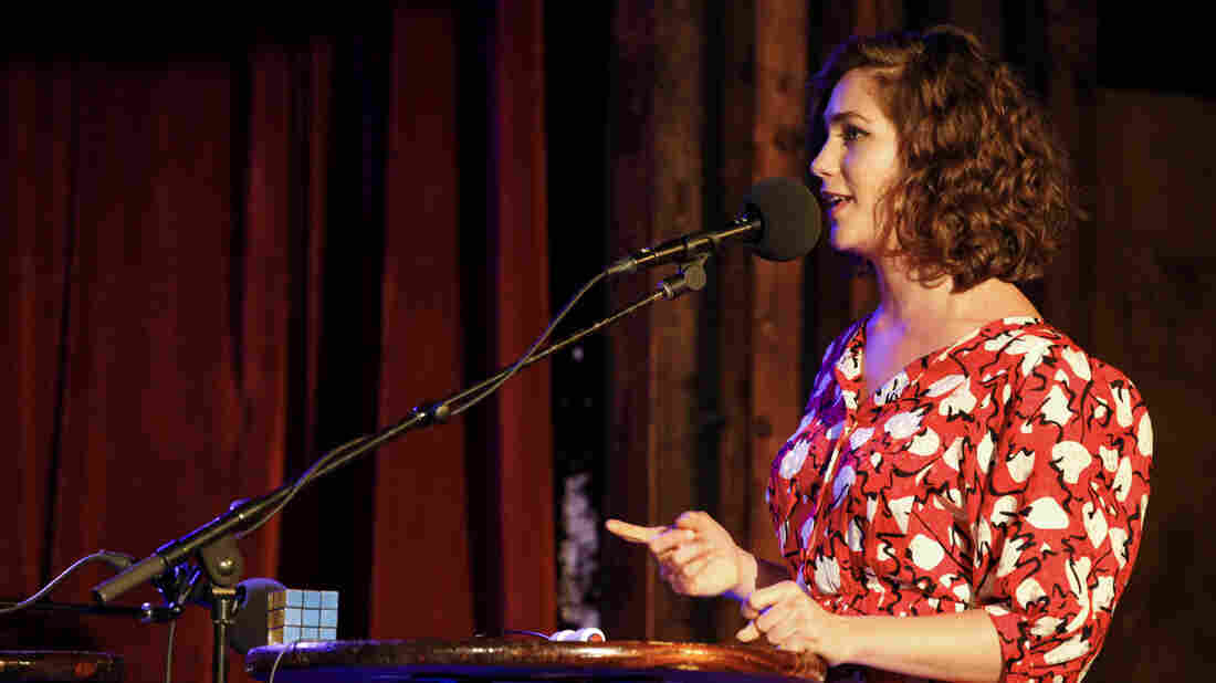Actor Lola Kirke appears on Ask Me Another at the Bell House in Brooklyn, New York.