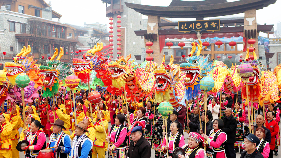 Residents of Mianyang, China, dress up for dragon dances to welcome the Year of the Dog on Feb. 16.