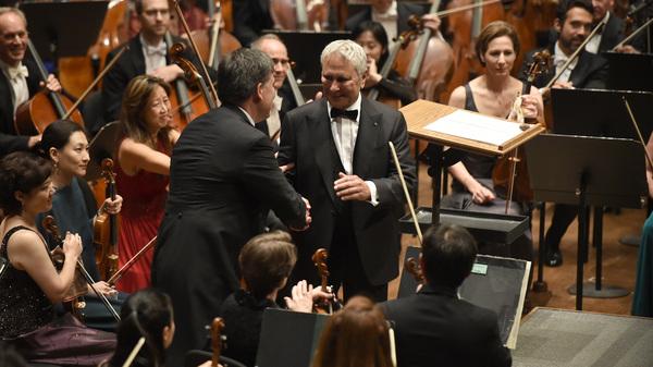 John Corigliano and music director Alan Gilbert at the New York Philharmonic