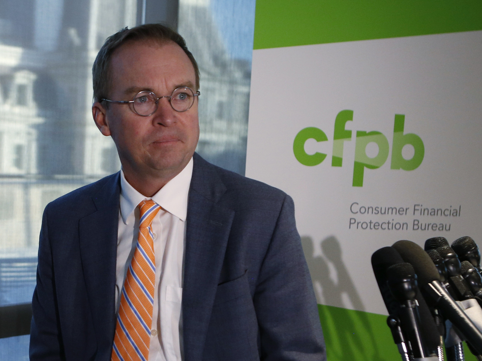 Proposed cuts in funding for the Consumer Financial Protection Bureau come amid questions about Trump appointee Mick Mulvaney softening the agency's stance on payday lenders. (Joshua Roberts/Reuters)