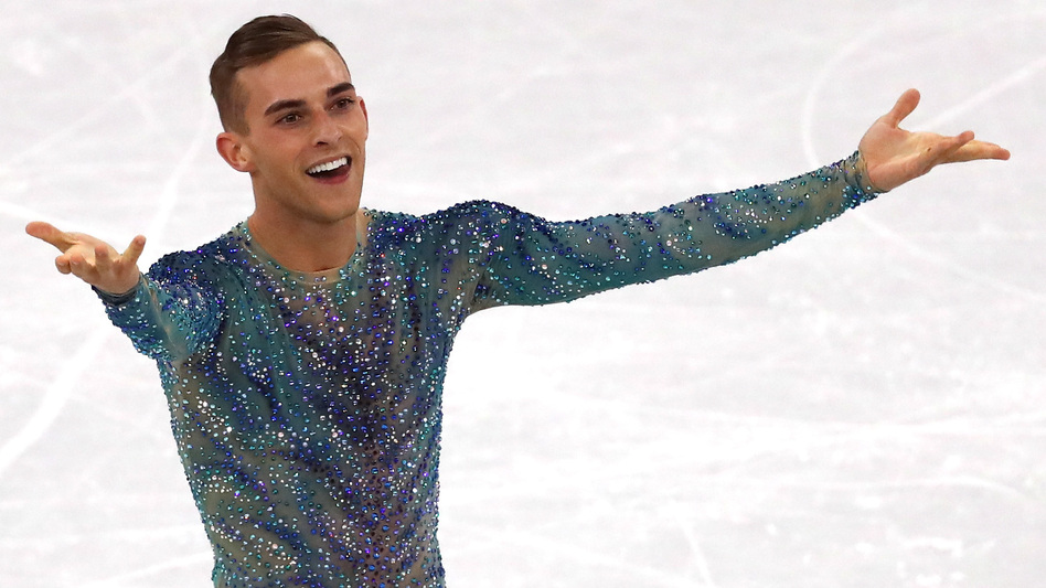 Adam Rippon says he turned down NBC's job offer so he can stay in the Athletes' Village and support his teammates. He's seen here during his free program at Gangneung Ice Arena on Saturday at the Pyeonchang Winter Olympics. (Dean Mouhtaropoulos/Getty Images)