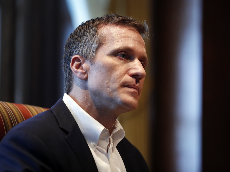 Missouri Gov. Eric Greitens during an interview at the Missouri Capitol in January 2018 after his extramarital affair was exposed. (Jeff Roberson/AP)